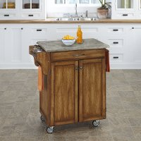 Oak Cuisine Cart with Concrete Top - Create-a-Cart