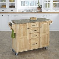 Natural Kitchen Cart with Concrete Top - Create-a-Cart