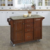 Cherry Kitchen Cart with Concrete Top - Create-a-Cart