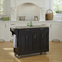 Black Kitchen Cart with Concrete Top - Create-A-Cart
