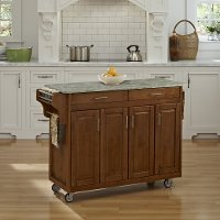 Oak Kitchen Cart with Concrete Top - Create-A-Cart