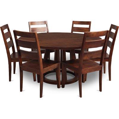 Mango 6 Piece Round Dining Set With Lazy Susan