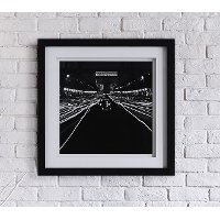 Black and White Street Scene at Night Framed Wall Art
