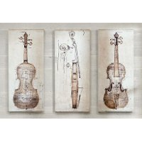 Neutral Violin Study Canvas Wall Art-Set of 3
