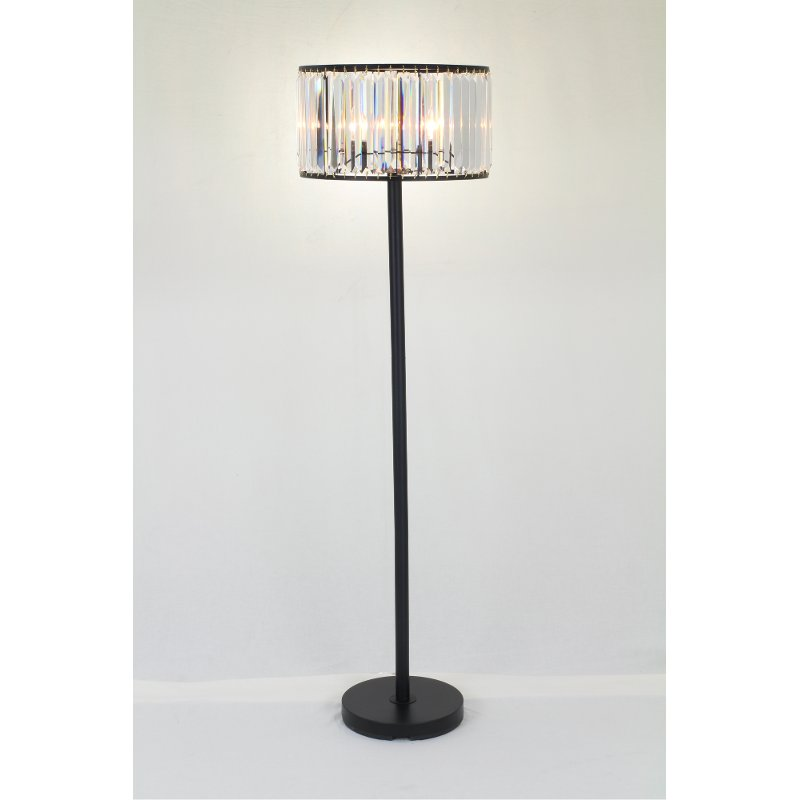 Matte Black Metal and Floor Lamp with Crystal Shade
