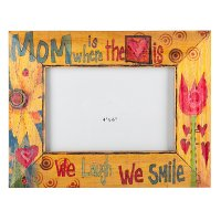 Multi Color Mom Is Where The Heart Is Picture Frame