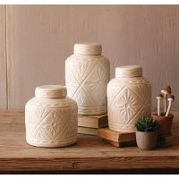 9 Inch Ivory Ceramic Canister with Geometric Pattern