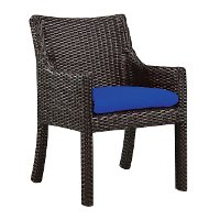 Wicker Outdoor Patio Armchair with Blue Sunbrella Cushion - Woodland