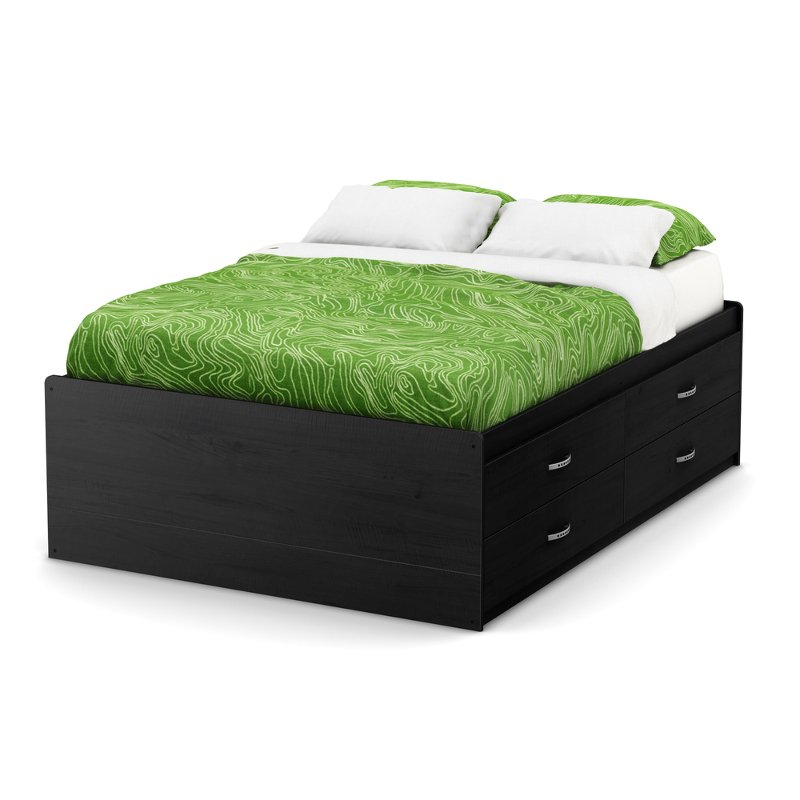 Black Full Size Captain Bed with 4 Drawers (54 Inch) - Lazer
