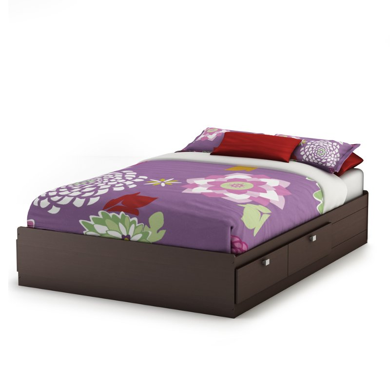 Chocolate Full Size Mates Bed with 4 Drawers (54 Inch) - Karma