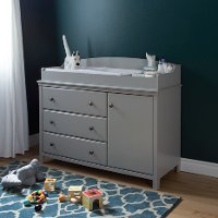 9020333 Soft Gray Changing Table with Removable Changing Station - Cotton Candy
