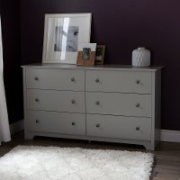 9021010 Soft Gray 6-Drawer Double Dresser - Vito