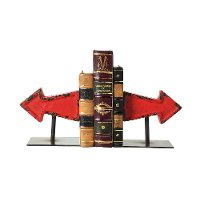 Distressed Red Cast Iron Arrow Bookend Pair