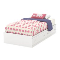 9011213 White Twin Mates Bed with Drawers (39 Inch) - Litchi