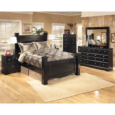 Black Contemporary 6 Piece Queen Bedroom Set Shay