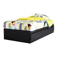 9008D1 Black Twin Mates Bed with 3 Drawers (39 Inch) - Fusion