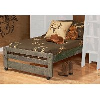 Rustic Driftwood Twin Bed with Casters - Fort