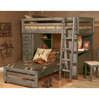 Rustic Driftwood Twin Loft Bed - Fort