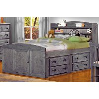 Driftwood Rustic Full Storage Bed with 1 Under-Bed Dresser - Fort
