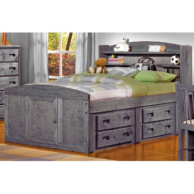 Driftwood Rustic Full Storage Bed With 1 Under Dresser Fort