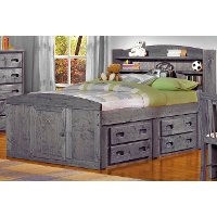 Driftwood Rustic Full Storage Bed with 2 Under-Bed Dressers - Fort