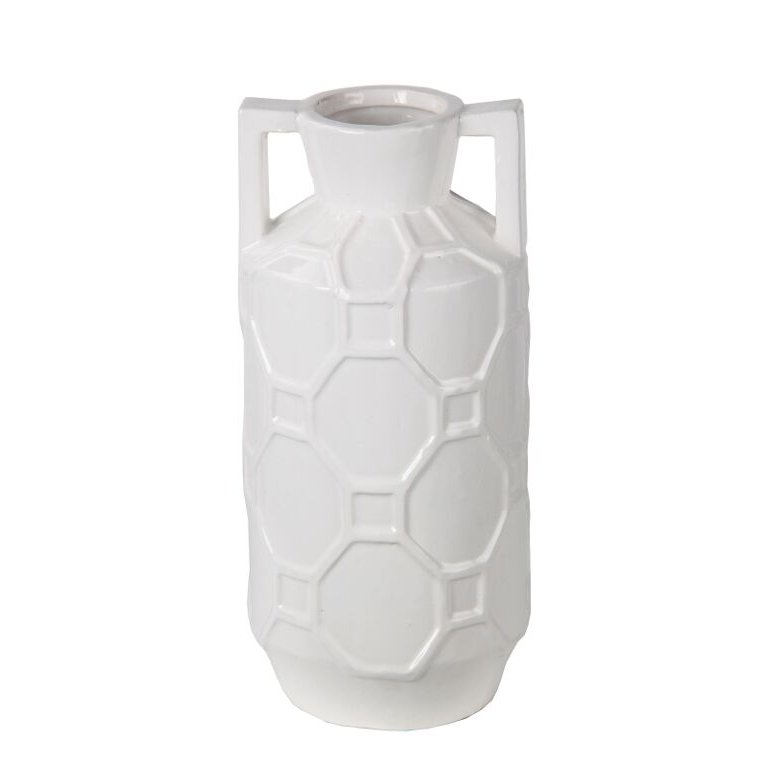 14 inch white ceramic jar with handles rcwilley image1~800