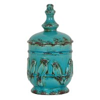 14 Inch Turquoise Perched Bird Lidded Urn