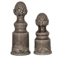 13 Inch Gray Ceramic Artichoke Finial