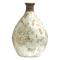 16 Inch White Glaze and Clay Vase