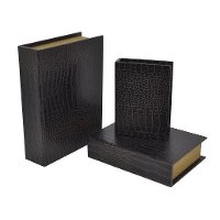 8 Inch Black Wooden Book Box