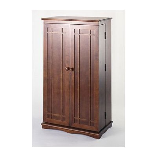 Walnut Twin Door Cd Dvd Multi Media Storage Cabinet