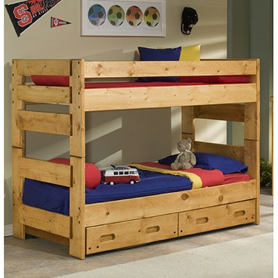 Cinnamon Rustic Pine Twin Over Twin Bunk Bed With Trundle Palomino