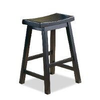 24 Inch Black Saddle Counter Height Bar Stool