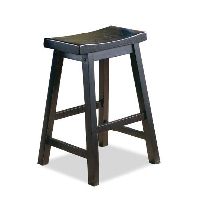 Charming Saddle Black 24 Inch Counter Stool
