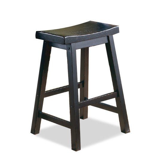 24 Inch Black Saddle Counter Height Stool
