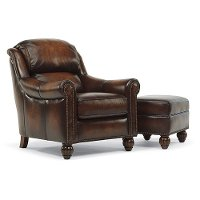 Brown Leather Chair and Ottoman - Wayne Collection