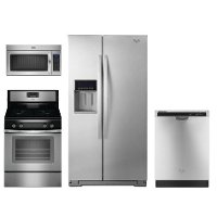 WHP-4-PC-GAS-SSKIT Whirlpool 4 Piece Kitchen Appliance Package with Gas Range - Stainless Steel