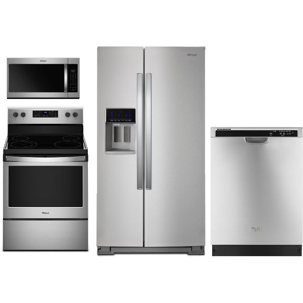 WHP 4 PC ELESATKIT Whirlpool 4 Piece Kitchen Appliance Package With  Electric Range