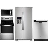 WHP-4-PC-ELESATKIT Whirlpool 4 Piece Kitchen Appliance Package with Electric Range with FlexHeat - Stainless Steel
