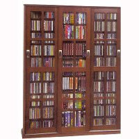 Walnut CD-DVD 2 Piece Storage Cabinet With Sliding Doors