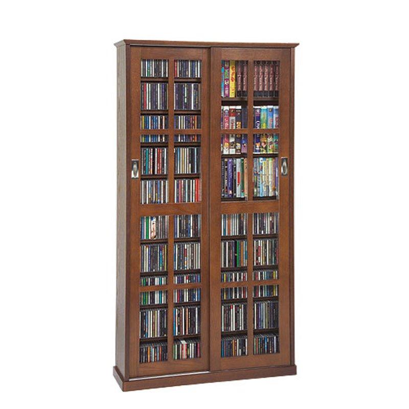 Walnut 2 Piece Cd Dvd Storage Cabinet With Sliding Doors